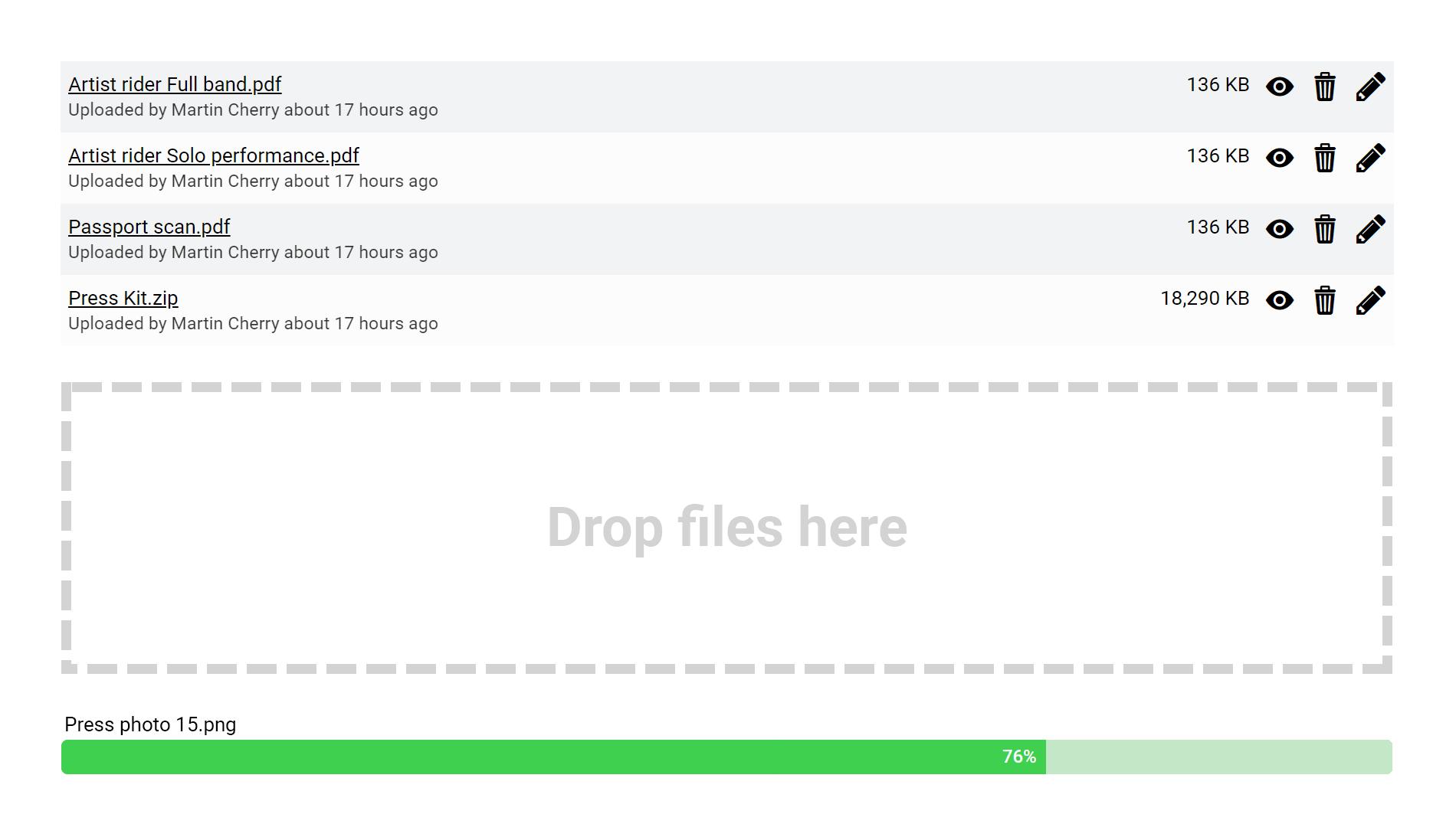 Screenshot of files panel