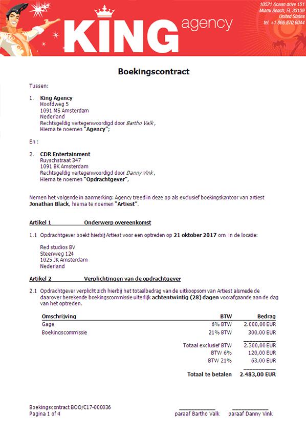 Voorbeeld van een contract