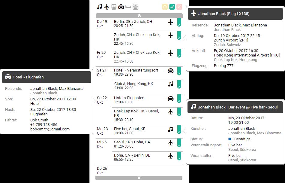 Screenshot der Logistik-Funktion