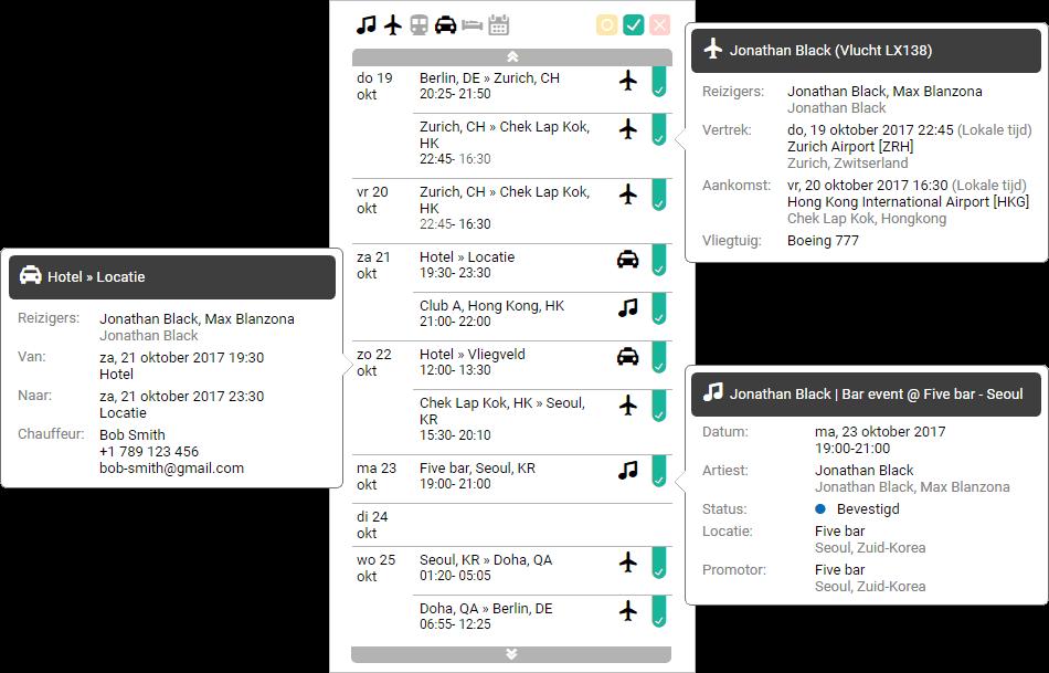 Screenshot van logistiek functionaliteit