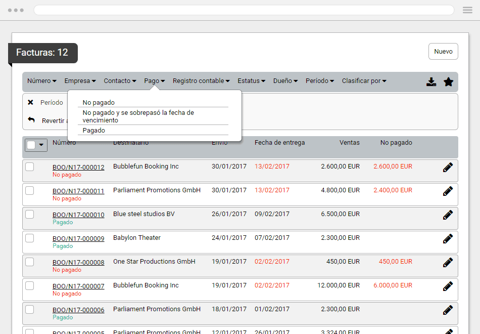 Screenshot of invoice section
